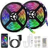 10M Bluetooth Tiras LED Musical 5050 RGB, Bonve Pet Tiras de Luces LED Iluminación con 12V 300 LEDS, Función Musical, Horario Personal, Control de APP y de Control Remoto, Impermeable, Adaptador