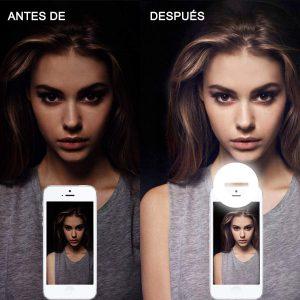 aro luz led selfie celular